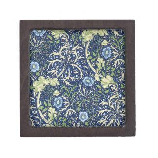 青い花パターン ギフトボックス