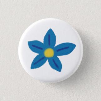 青い花ボタン 3.2CM 丸型バッジ