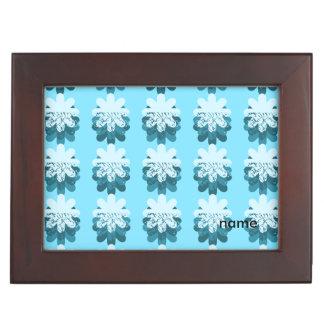 青い花弁パターン ジュエリーボックス