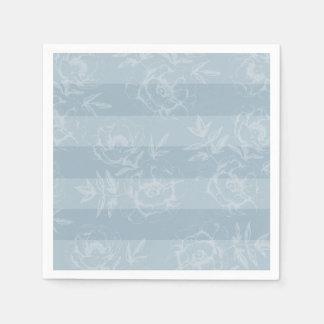 青い花柄のストライプの結婚披露宴のナプキン スタンダードカクテルナプキン