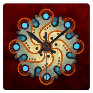 青い花柄の抽象芸術のベクトル芸術の正方形 スクエア壁時計