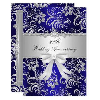 青い花柄及び弓第25結婚記念日の招待 カード