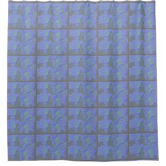 青い花柄 シャワーカーテン