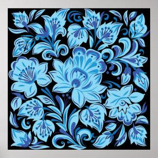 青い花柄 ポスター
