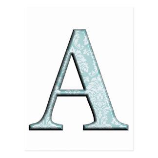 青い花柄Aのモノグラムのイニシャルのギフト ポストカード