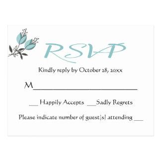 青い花柄RSVPの花の結婚披露宴-メニュー無し ポストカード