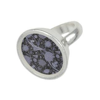 青い花柄W.Morrisパターン銀のリング リング