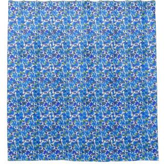 青い花模様 シャワーカーテン