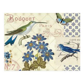 青い花、鳥および蝶の花束 ポストカード