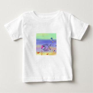 青い芸術、鮮やか、元ピンクモダン ベビーTシャツ