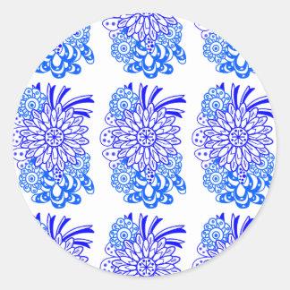 青い華やかな花の青く華美な花 ラウンドシール