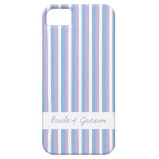 青い薄紫の白のストライプの白い結婚式のiPhone 5 iPhone SE/5/5s ケース