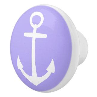 青い薄紫の航海ので白いいかり セラミックノブ