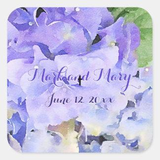 青い薄紫を結婚しているカスタムなアジサイ スクエアシール