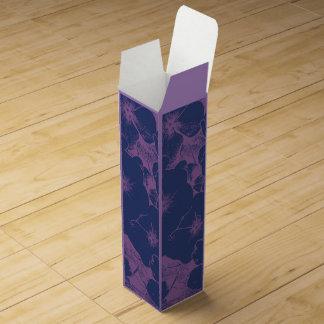 青い藤色の花のモチーフ ワインギフトボックス