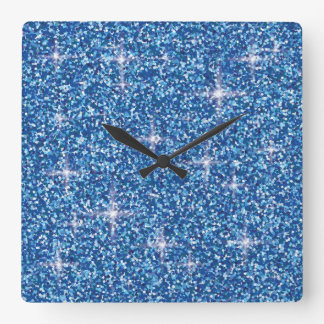 青い虹色のグリッター スクエア壁時計