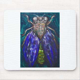 青い蝉(超現実的な現実主義の昆虫の絵画) マウスパッド