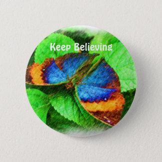 青い蝶は断言ボタンを信じます 5.7CM 丸型バッジ