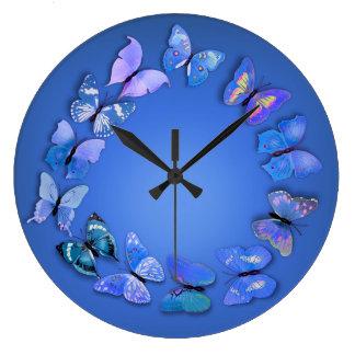 青い蝶ノベルティの柱時計 ラージ壁時計