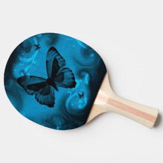 青い蝶ベクトル芸術 卓球ラケット