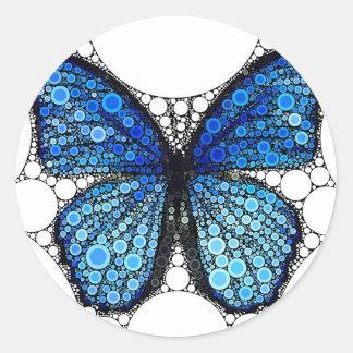 青い蝶モザイク ラウンドシール