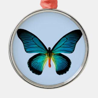 青い蝶円形のオーナメント メタルオーナメント