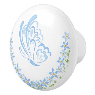 青い蝶装飾 セラミックノブ
