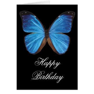 青い蝶誕生日の挨拶状 カード