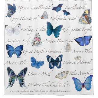 青い蝶 シャワーカーテン
