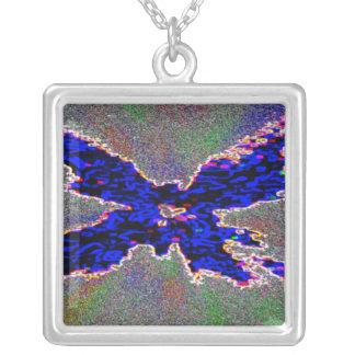 青い蝶 シルバープレートネックレス
