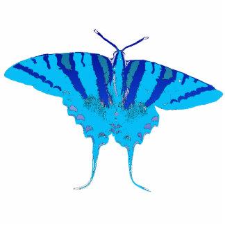 青い蝶Pin 写真彫刻バッジ