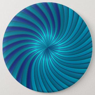 青い螺線形渦にボタンをかけて下さい 15.2CM 丸型バッジ