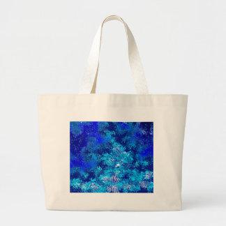 青い衝突の抽象芸術 ラージトートバッグ