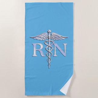 青い装飾の公認看護師RNのケリュケイオン ビーチタオル