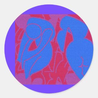青い裸体のステッカー#2 ラウンドシール