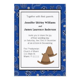 青い西部のカーボーイ・ハットの結婚式招待状 カード