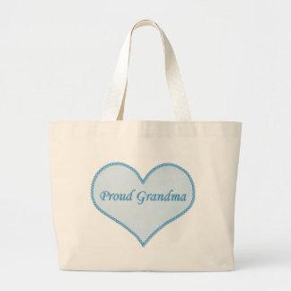 青い誇りを持ったな祖母のバッグ ラージトートバッグ