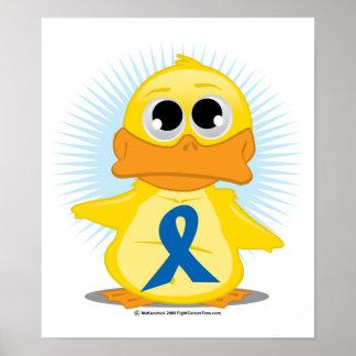 青い認識度のリボンのアヒル ポスター