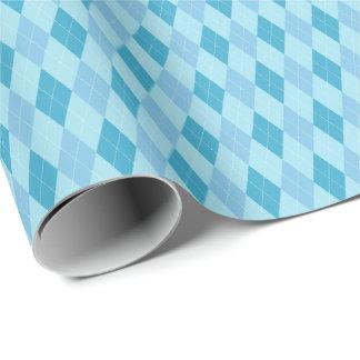 青い調子のアーガイル柄のな包装紙 ラッピングペーパー