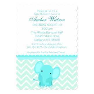 青い象のシェブロンのベビーシャワーの招待状 カード