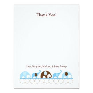 青い象のベビーシャワーはノート感謝していしています カード