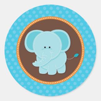 青い象の好意のステッカーの封筒用シール ラウンドシール
