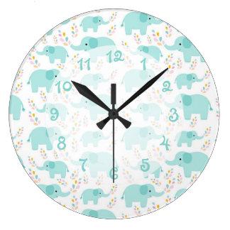 青い象の子供部屋 ラージ壁時計