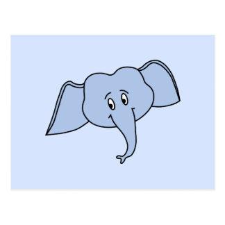 青い象の顔。 漫画 ポストカード