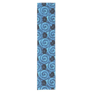 青い貝および花 ショートテーブルランナー