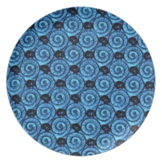 青い貝および花 プレート