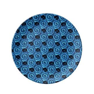 青い貝および花 磁器プレート