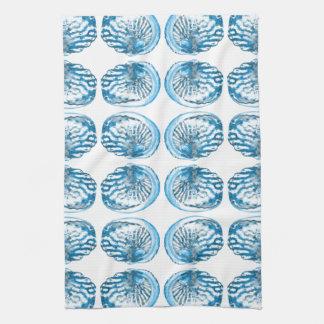 青い貝パターン キッチンタオル