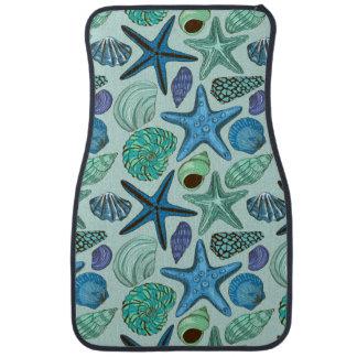 青い貝殻およびヒトデパターンの陰 カーマット