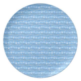 青い貝殻か白海パターン プレート